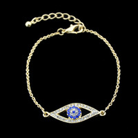 Wholesale New Punk Silver Gold - New Fashion Punk Style Gold Silver Plated Rhinestone Eye Shape Chain Bracelet