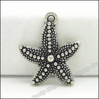 grandes pérolas de vidro venda por atacado-100 pcs vintage encantos estrela do mar pingente de prata tibetana liga de zinco fit pulseira colar de metal jóias de metal achados