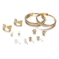 Wholesale Beads For Hoop Earrings - New Big Circle Zircon Hoop Earrings Vintage Gold Bowknot Beads Pearl Stud Earring Mix Designs For Women 6 Pairs Set HZ