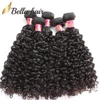 3pcs 8a weave venda por atacado-100% Extensões de Cabelo Humano Virgem Tece Kinky Curly Cabelo Wefts Malaio Não Transformados Feixes de Cabelo Dupla Trama Bellahair 3 pcs 8A