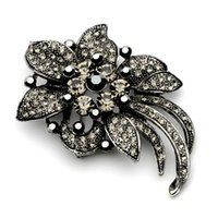 Wholesale Grey Wedding Bouquets - 2.75 Inch Vintage Look Gun Black Plated Grey and Jet Rhinestone Crystal Diamante Wedding Flower Bouquet Brooches Women