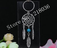 Wholesale Women Handbag Jewelry - 50PCS Vintage Silver Dream Catcher Turquoise&Opal Charms HandBag Keychain Key Chain Jewelry For keys Car Key Rings Gift DIY Accessories U37