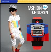 Wholesale Cute Robot Cartoon - 2016 Fashion LED Digit Kids Children Watch Sports Cartoon Watches Cute Relogio Relojes Robot Transformation Toys Boys Wristwatch
