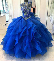 Wholesale Modest Prom Dresses Champagne Color - 2018 Modest Quinceanera Dresses Ball Gown High Neck Floor Length Masquerade Dress Beads Bodice Vintage Long Prom Gowns Royal Blue Backless