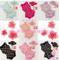 Wholesale Toddles Wholesale Clothes - Baby girl FOIL GOLD romper Infant girl one piece pokadot cartoon Rompers toddle clothing for Newborn Jumpsuits Baby Wear