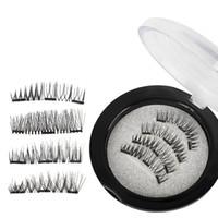 Wholesale dual magnet online - Magnetic False Eyelashes D Mink Lashes Reusable three dual Magnets Eyelashes Extension D Eyelash Full Strip Extensions Magnetic Eye Lash