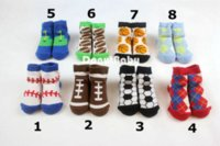 Wholesale Baby Boys Shoes Wholesale - 3 Pairs  Lot Baby Infant Boy Socks Cotton Sport Ball Baby Shoe Socks 0-12m [DonutBaby] DBB002
