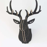 Wholesale 3d Wooden Model Assembly - DIY 3D Wooden Colorful Animal Deer Head Assembly Puzzle Wall Hanging Decor Art Wood Model Kit Toy Home Decoration