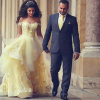 Wholesale Simple Prom Ball Gown - Gorgeous Yellow 2015 Wedding Dresses Lace A Line Appliques Floor Length Ruffle Off Shoulder Tulle Prom Ball Gowns Bridal Gowns