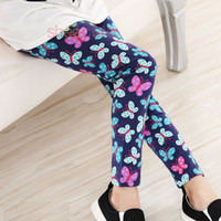 Wholesale Blue Silk Pants - Baby Kids Children Milk Silk Print Flower Floral Classic Leggings For Girls Toddler Bohemian Leggings Pants New Spring Autumn 2-12 years