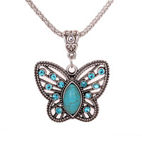 Wholesale Tibetan Butterfly Necklace Turquoise - Yazilind Jewellery Christmas Antique Hollow Tibetan Silver Butterfly Crystal Turquoise Pendant Chain Necklace Clothes for Women