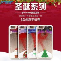 Wholesale Clear Back House Iphone - Glitter Chrismas House Tree Hard PC Clear Crystal Case Back Cover For iPhone 5 5S 6 6s plus free DHL