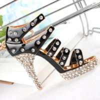Sapato Preto Alto-Heel Keyring Charm Pendant Cristal Rhinestone Purse Bag Car Key Chain Birthday Party Wedding Gift