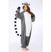 Wholesale Shirt Halloween Adult - 2016 One Piece Adult Lemur Cosplay Pajamas Animal Onesies Pyjamas Anime Halloween Lemur Cosplay Costume Jumpsuit
