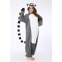 Wholesale One Piece Pyjamas - 2016 One Piece Adult Lemur Cosplay Pajamas Animal Onesies Pyjamas Anime Halloween Lemur Cosplay Costume Jumpsuit