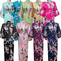 Wholesale ladies kimono robe - Women Lady High Quality Long Peacock Bride Kimono Robe satin Night dress Gown