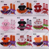 Wholesale Baby Dresses Shoes - summer Halloween Xmas floral newborn baby lace romper with tutu dress +head band+shoes+leggings 4pcs set baby clothing