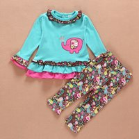 Wholesale Wholesale Baby Chicken - 2015 baby new spring suit chicken embroidery dot outfit cute elephant lace suits A001
