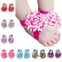 Wholesale Barefoot Sandals For Children - Stripe splicing baby girl sandals shabby chiffon flower shoes cover barefoot Infant Toddler shoes Children for summer Photography props