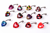 Wholesale Piercing Leopard - Belly Button Navel Rings Body Piercing Jewelry Resin Leopard Dangle Accessories Fashion Charm Playboy Rabbit 12PCS [bp0002*12]