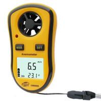termómetro de velocidad del viento al por mayor-Al por mayor-GM8908 30m / s (65MPH) LCD anemómetro portátil de mano Medidor de velocidad del viento medida del medidor Anemómetro Termómetro rpm medidor manga de viento