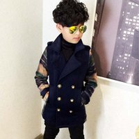 Wholesale Wool Coats For Boys - 2016 Boys Winter Wool Coat Double Breasted Cotton Padded Thick Overcoat For Children Outerwear Retail 1PC ZZ3255