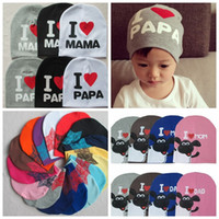Wholesale I Love Papa Kids - PrettyBaby kids girl boy i love papa mama print kid hats Cute Stars Printed Hats Beanies Soft Warm Cotton Girls Boys Beanies Caps in stock