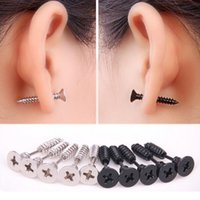Wholesale Ear Studs For Men - 1PC Punk Stainless Steel Jewelry Screw Stud Earrings Fashion Design Ear Stud for Men Women Black Steel Color E126