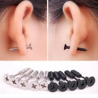 Wholesale Stainless Steel Earrings Color - 1PC Punk Stainless Steel Jewelry Screw Stud Earrings Fashion Design Ear Stud for Men Women Black Steel Color E126