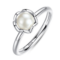 Wholesale Sterling Silver Freshwater Pearl Ring - Elegant 925 Sterling Silver Rings with White Freshwater Cultured Pearl Unique Engagement Promise Rings R016