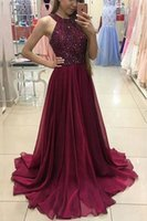 2018 Jewel Neck Sexy Sleeveless Women Prom Платья Bling Bling Beadings A-line шифон юбки Ruffles Sweep Train School Party Gown оптом