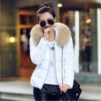 Wholesale Woman Winter Coat Dark Blue - Wholesale-2015 Autumn and Winter Jacket Women Coat Parka Fur Collar Large Size Women Down Cotton-padded Jacket Coat Candy Colors Outwear