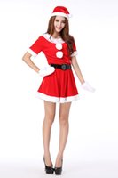 Wholesale Santa Sexy Outfits - Women Cosplay Girls Xmas Outfit Fancy Party Sexy Masquerade Mini Christmas Novelty Costume Clothes Suit Cosplay Clothing Free Shipping
