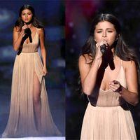 Wholesale Thigh Highs Online - Selena Gomez Red Carpet Celebrity Party Dresses 2016 High Thigh Slit Deep V Neck vestido de festa Prom Dresses Evening Gown Online Cheap