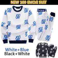 Wholesale Cute Outfits For Boys - Hot sale New 100 emoji printed cute cartoon sweat suit tracksuit for men women girl boy joggers&hoodies set outfit cloth balck&white