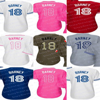Wholesale Blue Barney - Womens Toronto 18 Darwin Barney Ladies Shirt Cool Base Flex Base White Pink Navy Red Grey Stitched Baseball Jerseys Size S -2Xl