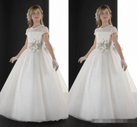 Wholesale Champagne Aline Long Dresses - 2015 Latest First Communion Dresses Crew Sheer Lace Neck Short Sleeve Aline Long Flower Girls Dresses Pageant Dresses Wedding Dresses