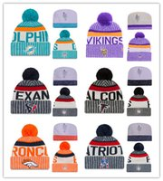 Wholesale Knitting Animal Hats - Cheap New Arrival Beanies Hats American Football 32 teams Beanies Sports winter side line knit caps Beanie Knitted Hats drop shippping B08