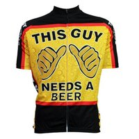 Wholesale Needs Bicycle - Hot Sale This Guy Needs A Beer Cartoon Cycling Jerseys Tops Men Short Sleeves Comfortable Yellow Bike Clothing Summer Road Bicycle Clothing