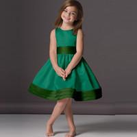 Wholesale Emerald Taffeta - 2017 Lovely Emerald Green Flower Girl Dresses Cheap A-Line Knee Length Scoop Neck Satin Sleeveless Children Party Gowns
