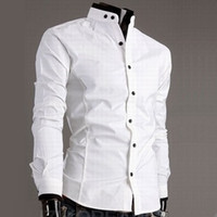 Wholesale Double Button Shirts - Casual Mens White Slim Fit Shirt Fashion Mandarin Collar Shirts Long Sleeve Collarless Shirt Double Stand Contrast Button Collar