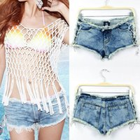 Charmante sexy Frauen Denim Destored Wash Jeans Shorts Hot Pants Low Rise Side Straps Korsett Schnee