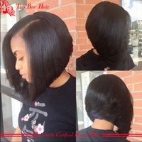 Wholesale Indian U Part Wigs - U Part Human Hair Wigs Bob For Black Women Unprocessed Virgin Brazilian Hair Bob u Part Wigs Glueless Short Bob Human Hair Wigs