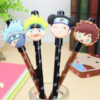 Wholesale Naruto Pens - Wholesale- 24pcs lot Black Refill Naruto Gel Ink Pen Mix Styles Cartoons Pens Stationery Office School Supplies