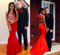 Wholesale Cheapest Women Formals - Two Pieces Cheapest Red Mermaid Evening Prom Dresses 2016 High Neck Crystal See Throgh Back Taffeta Women Formal Party Dress Pageant Custom