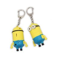 Cartoon Insuffisamment Je Porte-clés 3D Eye Small Minions Figure Kid Toy Night Light Clés Chain Sound peut dire