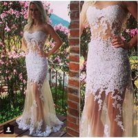 Abiti arabo White Lace Appliques Prom Sheer collo Leg Scoop illusione lungo sexy del vestito da partito vestido de festa Longo Stunning Evening Gown