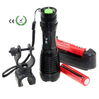 Wholesale T6 Bicycle Flashlight - LED Flashlight REE XM-T6 Zoomable Waterproof portable Torch for bicycle riding + 2* Rechargeable Battery + Charger +Mount holder