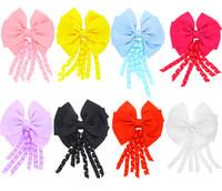 Wholesale korker ribbons wholesale - 4 inch korker streamer ribbon elastic bobble Grosgrain Ribbon Long Korker Tail Fancy Cute Hair Bow With Clip For Girls B11