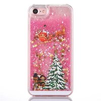 Wholesale iphone hard case online - Christmas Tree Glitter Liquid Star Cases Hard PC Shining Bling Style For IPhone X Plus S S8 S7 Edge